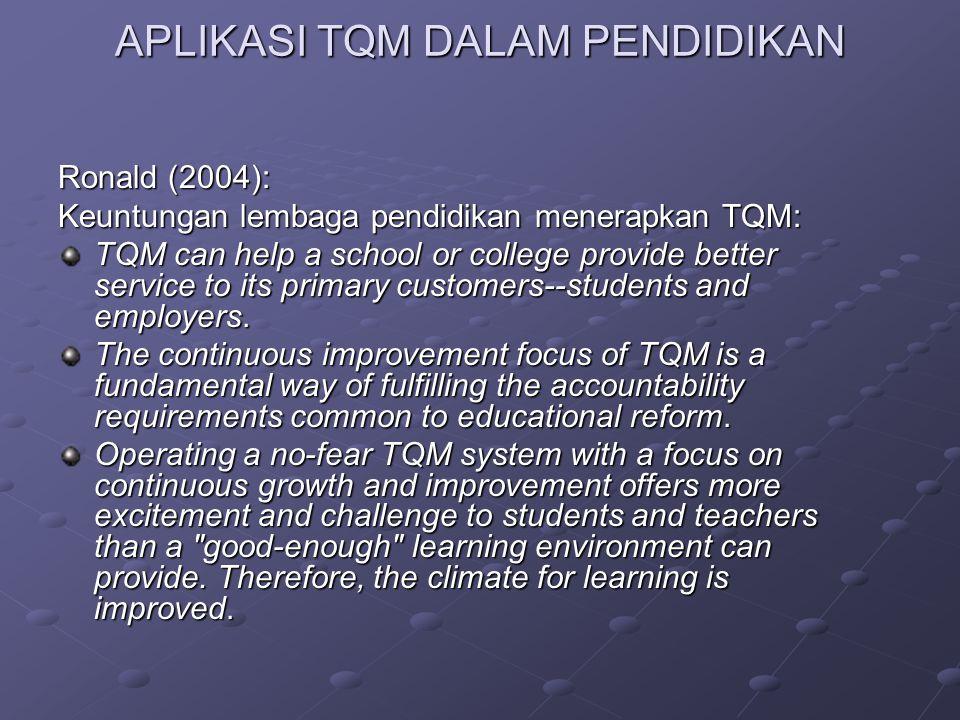 Ronald (2004): Keuntungan lembaga pendidikan menerapkan TQM: TQM can help a school or college provide better service to its primary customers--student
