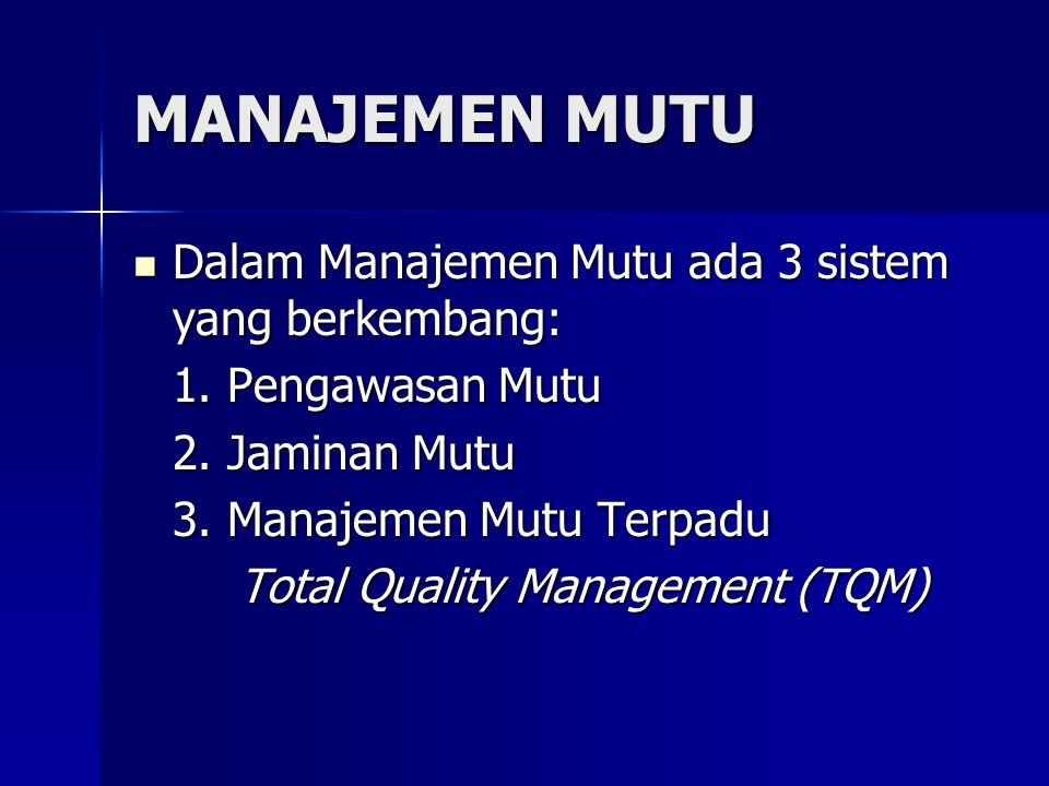  Dalam Manajemen Mutu ada 3 sistem yang berkembang: 1. Pengawasan Mutu 2. Jaminan Mutu 3. Manajemen Mutu Terpadu Total Quality Management (TQM) MANAJ