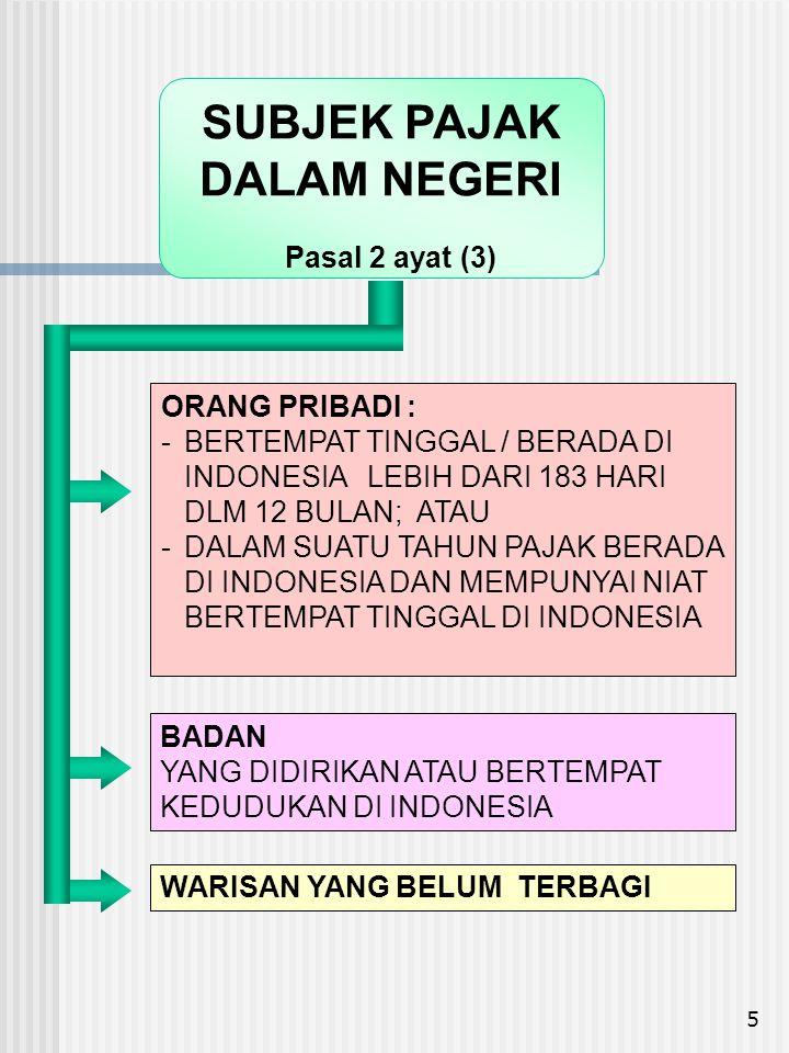 6 •ORANG PRIBADI YG TIDAK BERTEMPAT TINGGAL DI INDONESIA / BERADA DI INDONESIA TIDAK LEBIH DARI 183 HARI DALAM 12 BULAN •BADAN YG TIDAK DIDIRIKAN DAN TIDAK BERTEMPAT KEDUDUKAN DI INDONESIA YANG MENJALANKAN USAHA ATAU KEGIATAN MELALUI BUT DI INDONESIA YANG MENERIMA ATAU MEMPEROLEH PENGHASILAN DARI INDONESIA BUKAN DARI MENJALANKAN USAHA ATAU KEGIATAN MELALUI BUT DI INDONESIA SUBJEK PAJAK LUAR NEGERI Pasal 2 ayat (4)