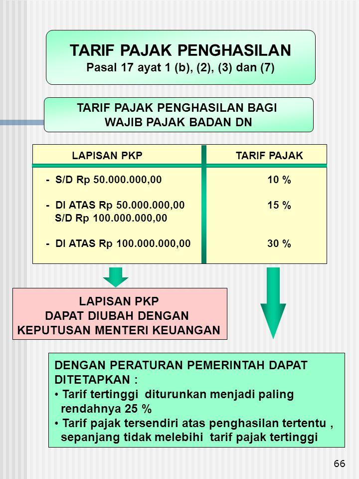 66 LAPISAN PKPTARIF PAJAK - S/D Rp 50.000.000,00 10 % - DI ATAS Rp 50.000.000,00 15 % S/D Rp 100.000.000,00 - DI ATAS Rp 100.000.000,00 30 % DENGAN PE