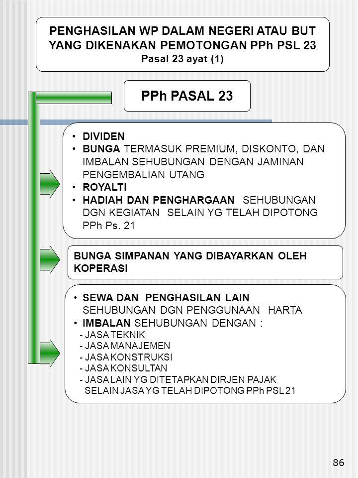 86 PPh PASAL 23 • SEWA DAN PENGHASILAN LAIN SEHUBUNGAN DGN PENGGUNAAN HARTA • IMBALAN SEHUBUNGAN DENGAN : - JASA TEKNIK - JASA MANAJEMEN - JASA KONSTR