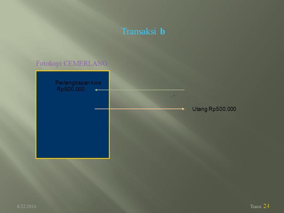 6/22/2014 Transi 24 Transaksi b Fotokopi CEMERLANG Utang Rp500.000 Perlengkapan kios Rp500.000