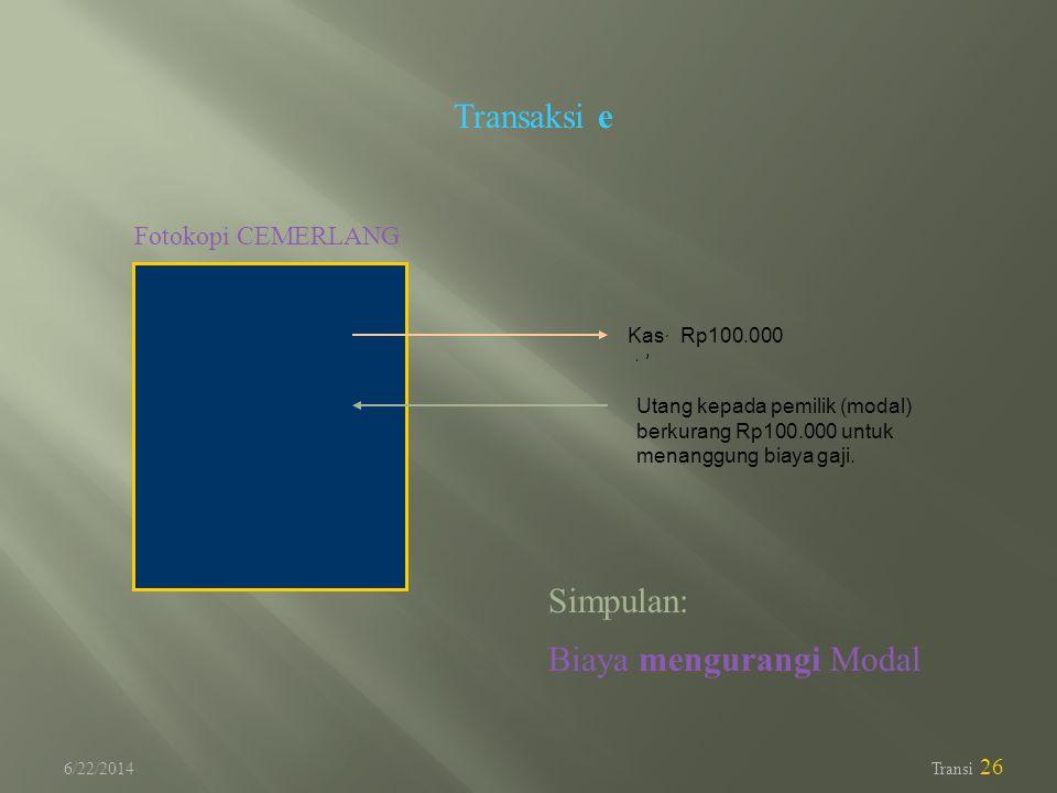 6/22/2014 Transi 26 Transaksi e Fotokopi CEMERLANG Utang kepada pemilik (modal) berkurang Rp100.000 untuk menanggung biaya gaji. Kas Rp100.000 Simpula