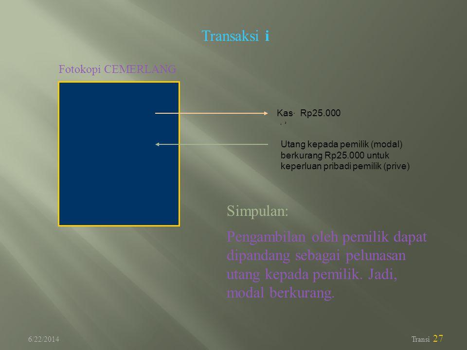 6/22/2014 Transi 27 Transaksi i Fotokopi CEMERLANG Utang kepada pemilik (modal) berkurang Rp25.000 untuk keperluan pribadi pemilik (prive) Kas Rp25.00
