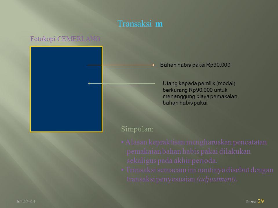6/22/2014 Transi 29 Transaksi m Fotokopi CEMERLANG Utang kepada pemilik (modal) berkurang Rp90.000 untuk menanggung biaya pemakaian bahan habis pakai