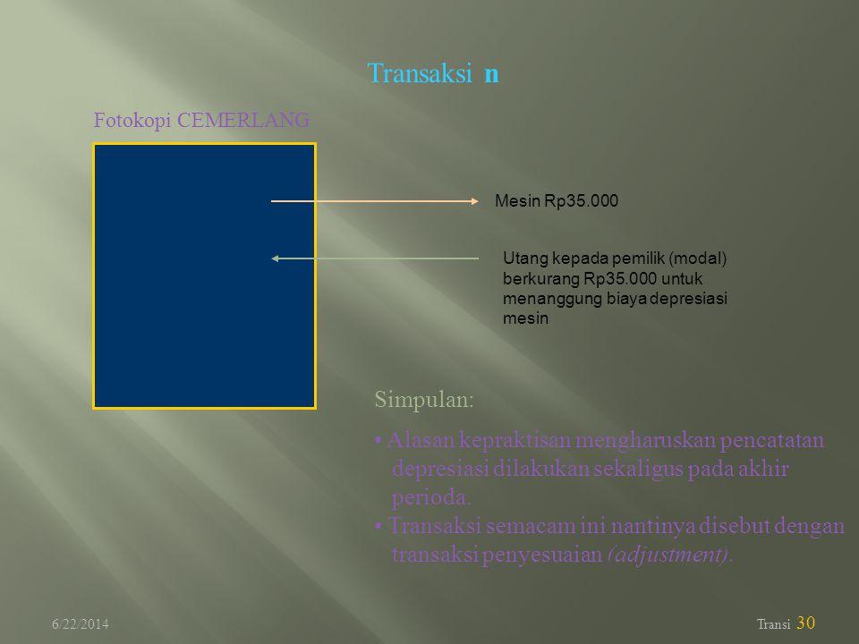 6/22/2014 Transi 30 Transaksi n Fotokopi CEMERLANG Utang kepada pemilik (modal) berkurang Rp35.000 untuk menanggung biaya depresiasi mesin Mesin Rp35.