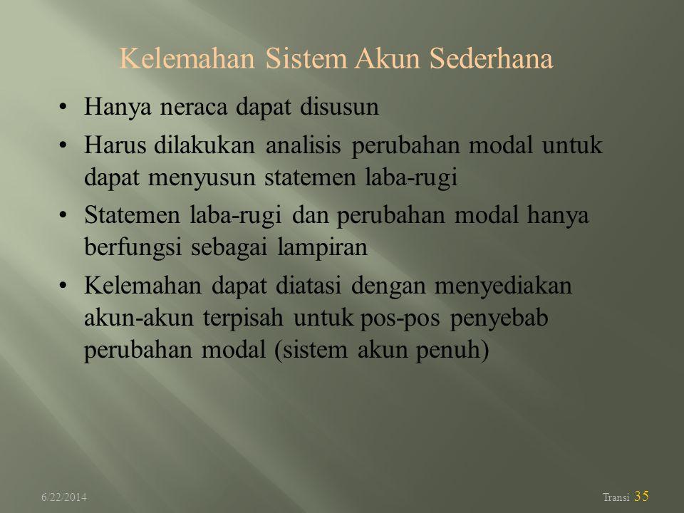 6/22/2014 Transi 35 Kelemahan Sistem Akun Sederhana •Hanya neraca dapat disusun •Harus dilakukan analisis perubahan modal untuk dapat menyusun stateme