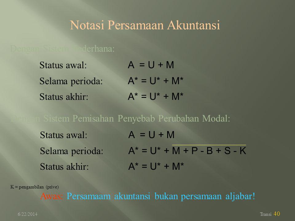 6/22/2014 Transi 40 Notasi Persamaan Akuntansi Dengan Sistem Sederhana: Status awal: A = U + M Selama perioda: A* = U* + M* Status akhir: A* = U* + M*