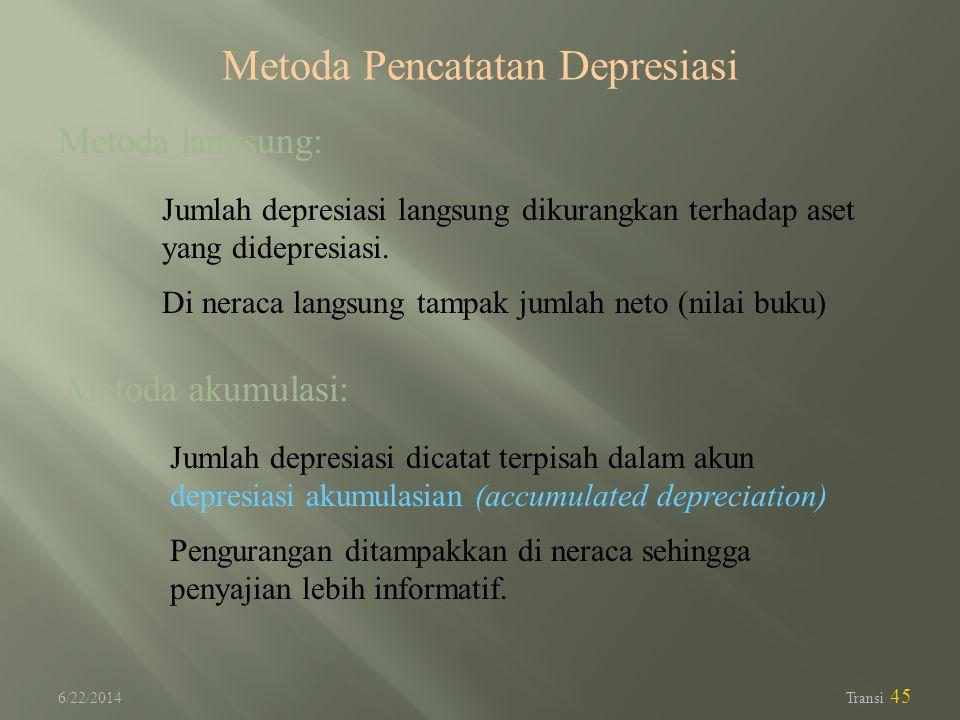 6/22/2014 Transi 45 Metoda langsung: Jumlah depresiasi langsung dikurangkan terhadap aset yang didepresiasi. Di neraca langsung tampak jumlah neto (ni