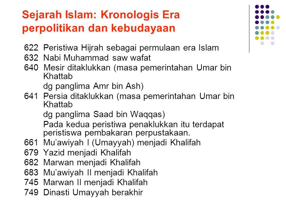 Sejarah Islam: Kronologis Era perpolitikan dan kebudayaan 622 Peristiwa Hijrah sebagai permulaan era Islam 632Nabi Muhammad saw wafat 640 Mesir ditakl