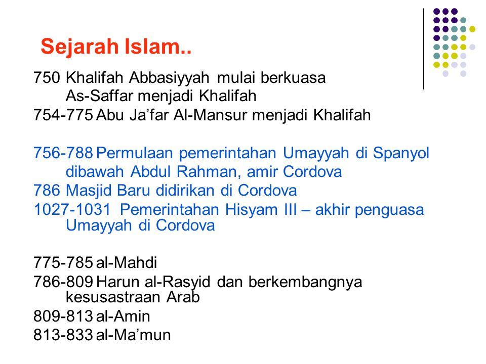 Sejarah Islam.. 750Khalifah Abbasiyyah mulai berkuasa As-Saffar menjadi Khalifah 754-775Abu Ja'far Al-Mansur menjadi Khalifah 756-788Permulaan pemerin