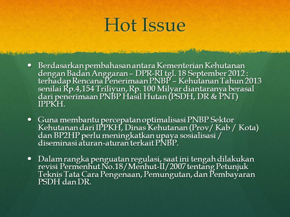 Hot Issue  Berdasarkan pembahasan antara Kementerian Kehutanan dengan Badan Anggaran – DPR-RI tgl. 18 September 2012 : terhadap Rencana Penerimaan PN