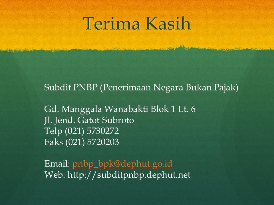 Terima Kasih Subdit PNBP (Penerimaan Negara Bukan Pajak) Gd. Manggala Wanabakti Blok 1 Lt. 6 Jl. Jend. Gatot Subroto Telp (021) 5730272 Faks (021) 572
