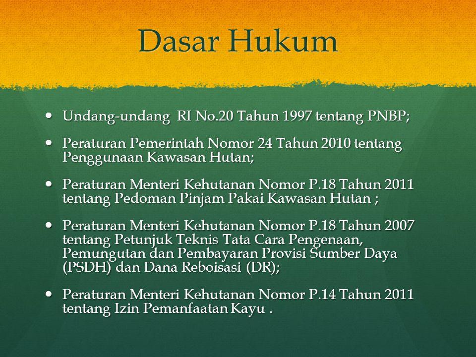 Dasar Hukum  Undang-undang RI No.20 Tahun 1997 tentang PNBP;  Peraturan Pemerintah Nomor 24 Tahun 2010 tentang Penggunaan Kawasan Hutan;  Peraturan