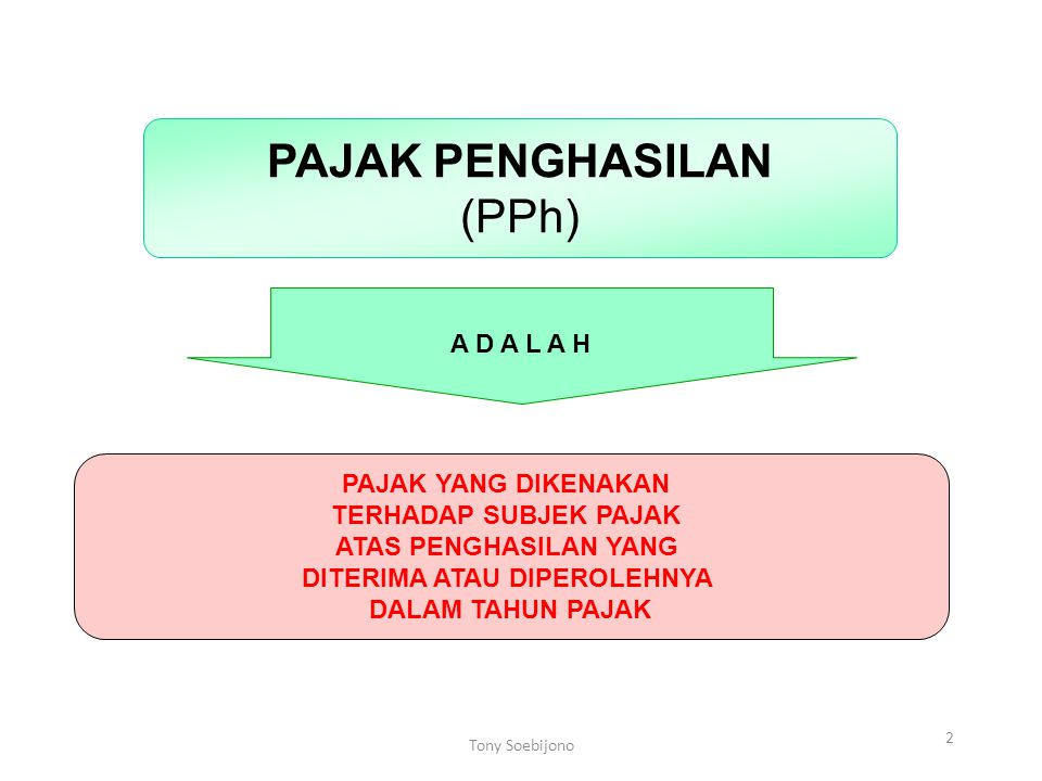 2 PAJAK PENGHASILAN (PPh) A D A L A H PAJAK YANG DIKENAKAN TERHADAP SUBJEK PAJAK ATAS PENGHASILAN YANG DITERIMA ATAU DIPEROLEHNYA DALAM TAHUN PAJAK To