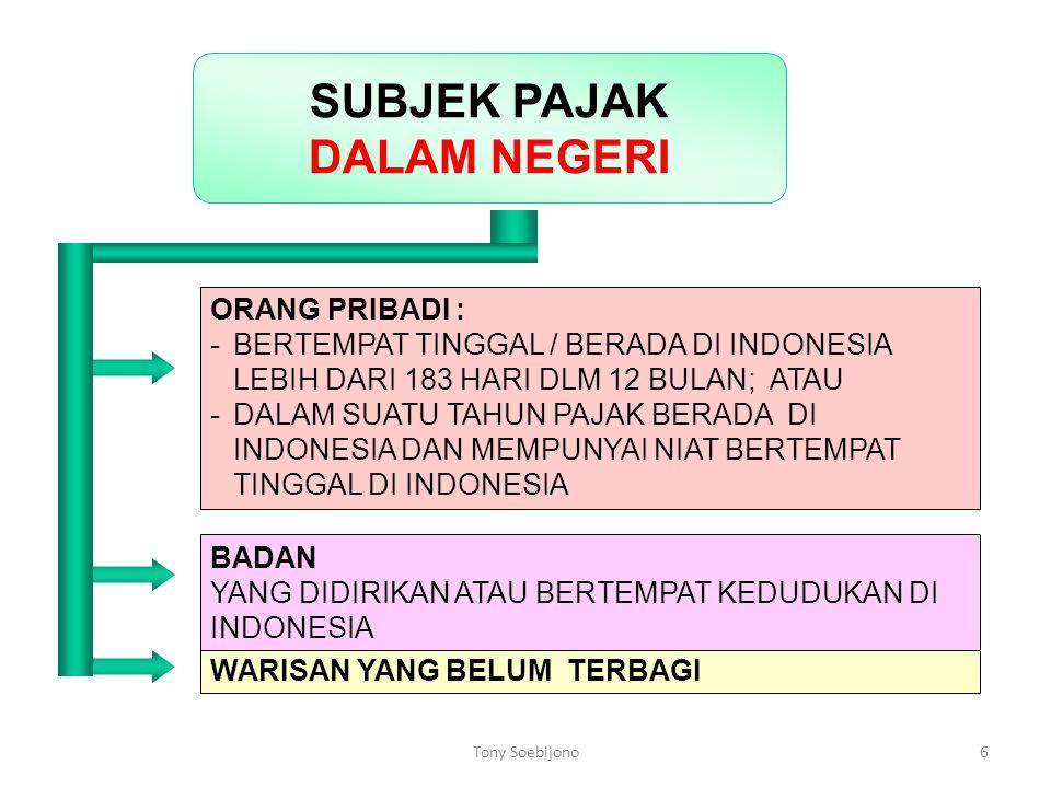6 ORANG PRIBADI : - BERTEMPAT TINGGAL / BERADA DI INDONESIA LEBIH DARI 183 HARI DLM 12 BULAN; ATAU - DALAM SUATU TAHUN PAJAK BERADA DI INDONESIA DAN M