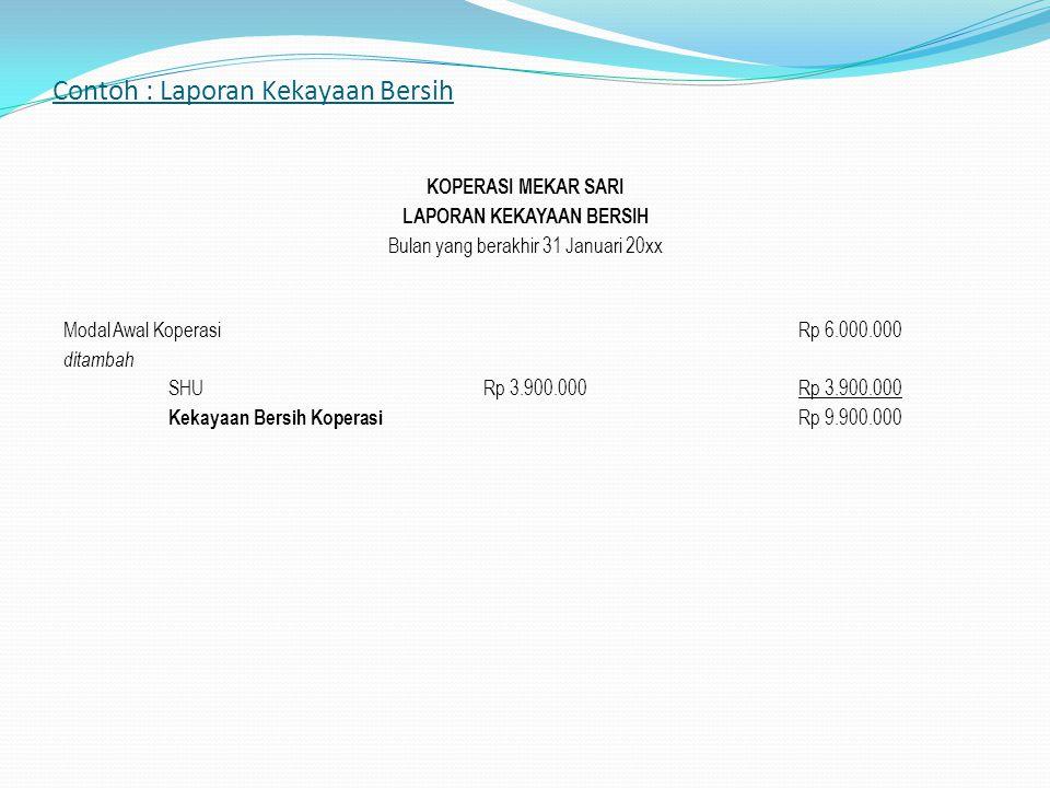 Contoh : Laporan Kekayaan Bersih KOPERASI MEKAR SARI LAPORAN KEKAYAAN BERSIH Bulan yang berakhir 31 Januari 20xx Modal Awal Koperasi Rp 6.000.000 dita
