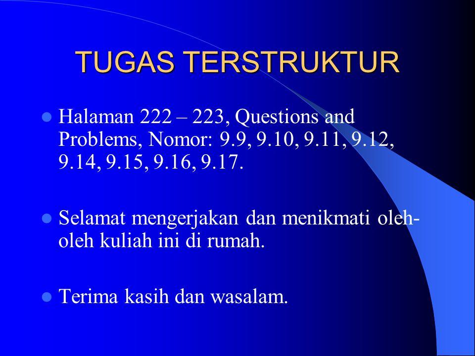 TUGAS TERSTRUKTUR  Halaman 222 – 223, Questions and Problems, Nomor: 9.9, 9.10, 9.11, 9.12, 9.14, 9.15, 9.16, 9.17.  Selamat mengerjakan dan menikma