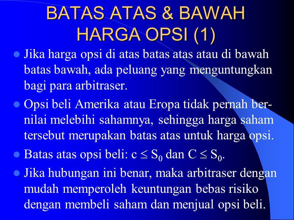 BATAS ATAS & BAWAH HARGA OPSI (1)  Jika harga opsi di atas batas atas atau di bawah batas bawah, ada peluang yang menguntungkan bagi para arbitraser.