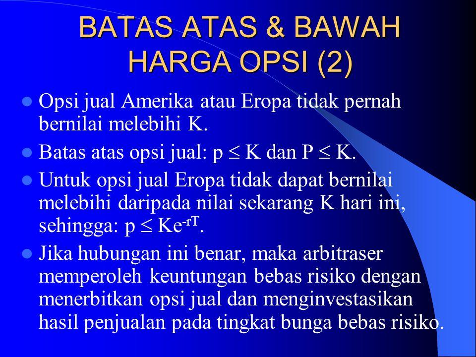 BATAS ATAS & BAWAH HARGA OPSI (2)  Opsi jual Amerika atau Eropa tidak pernah bernilai melebihi K.  Batas atas opsi jual: p  K dan P  K.  Untuk op
