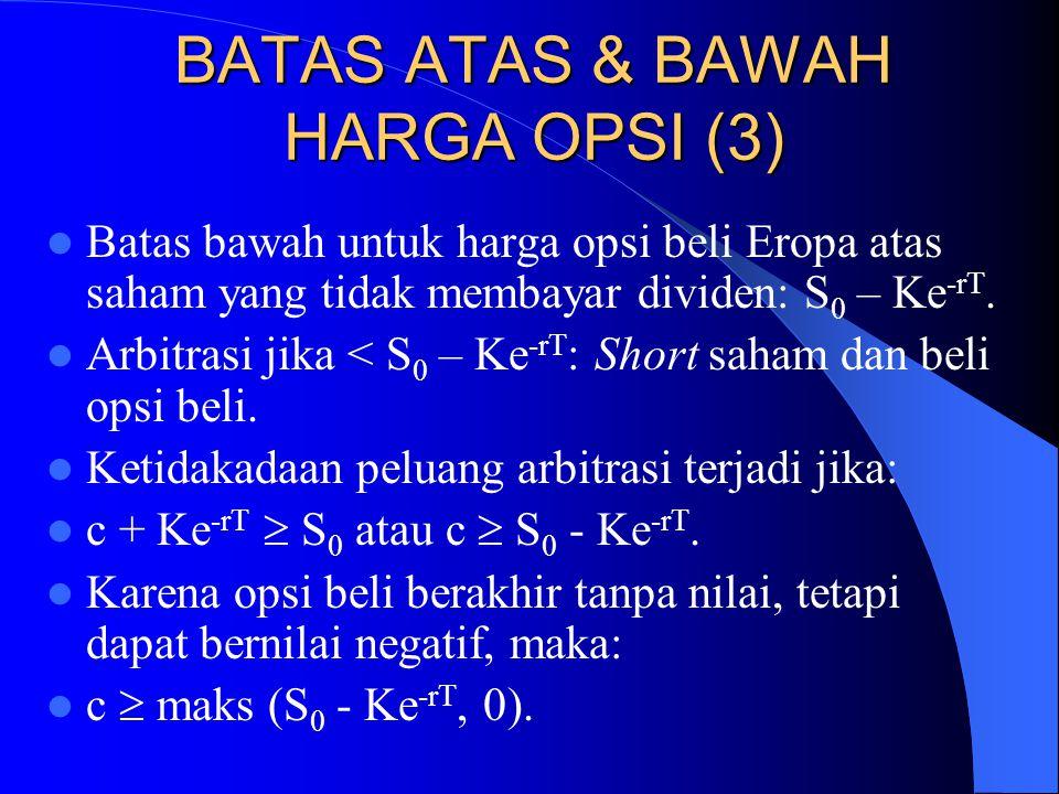 BATAS ATAS & BAWAH HARGA OPSI (3)  Batas bawah untuk harga opsi beli Eropa atas saham yang tidak membayar dividen: S 0 – Ke -rT.  Arbitrasi jika < S