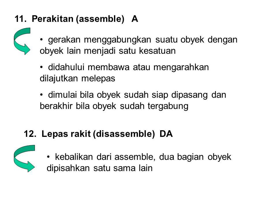 11. Perakitan (assemble) A • gerakan menggabungkan suatu obyek dengan obyek lain menjadi satu kesatuan • didahului membawa atau mengarahkan dilajutkan