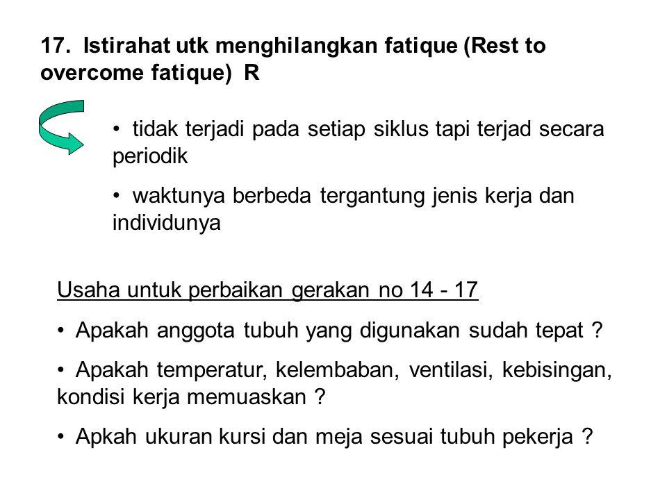 17. Istirahat utk menghilangkan fatique (Rest to overcome fatique) R • tidak terjadi pada setiap siklus tapi terjad secara periodik • waktunya berbeda