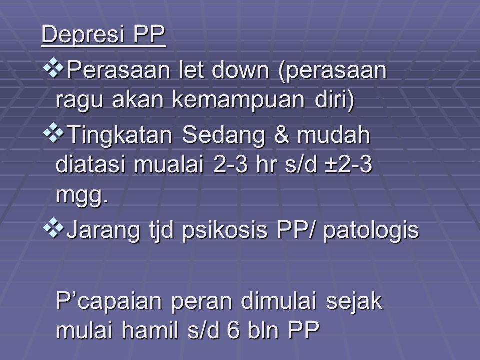 Depresi PP  Perasaan let down (perasaan ragu akan kemampuan diri)  Tingkatan Sedang & mudah diatasi mualai 2-3 hr s/d ±2-3 mgg.  Jarang tjd psikosi