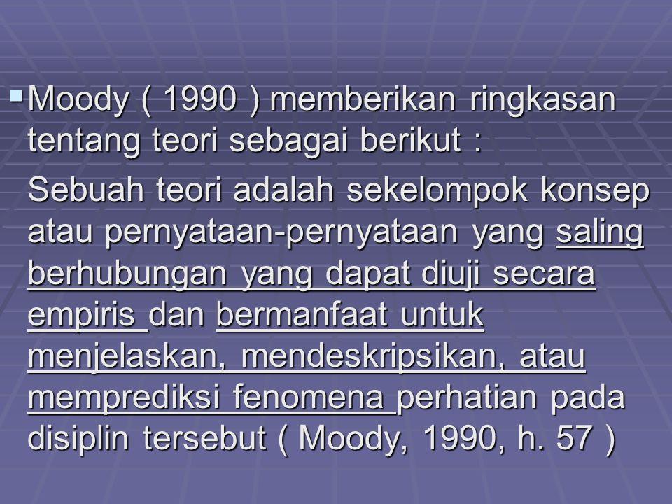 Moody ( 1990 ) memberikan ringkasan tentang teori sebagai berikut : Sebuah teori adalah sekelompok konsep atau pernyataan-pernyataan yang saling ber