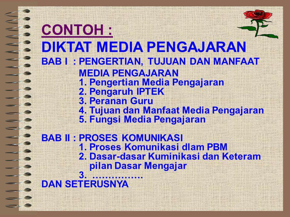 CONTOH : DIKTAT MEDIA PENGAJARAN BAB I : PENGERTIAN, TUJUAN DAN MANFAAT MEDIA PENGAJARAN 1.