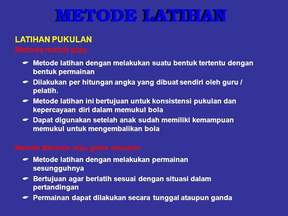 Metode match play  Metode latihan dengan melakukan suatu bentuk tertentu dengan bentuk permainan  Dilakukan per hitungan angka yang dibuat sendiri o