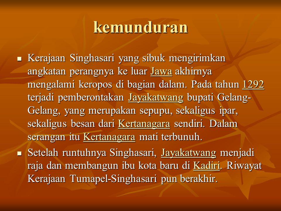 kemunduran  Kerajaan Singhasari yang sibuk mengirimkan angkatan perangnya ke luar Jawa akhirnya mengalami keropos di bagian dalam. Pada tahun 1292 te