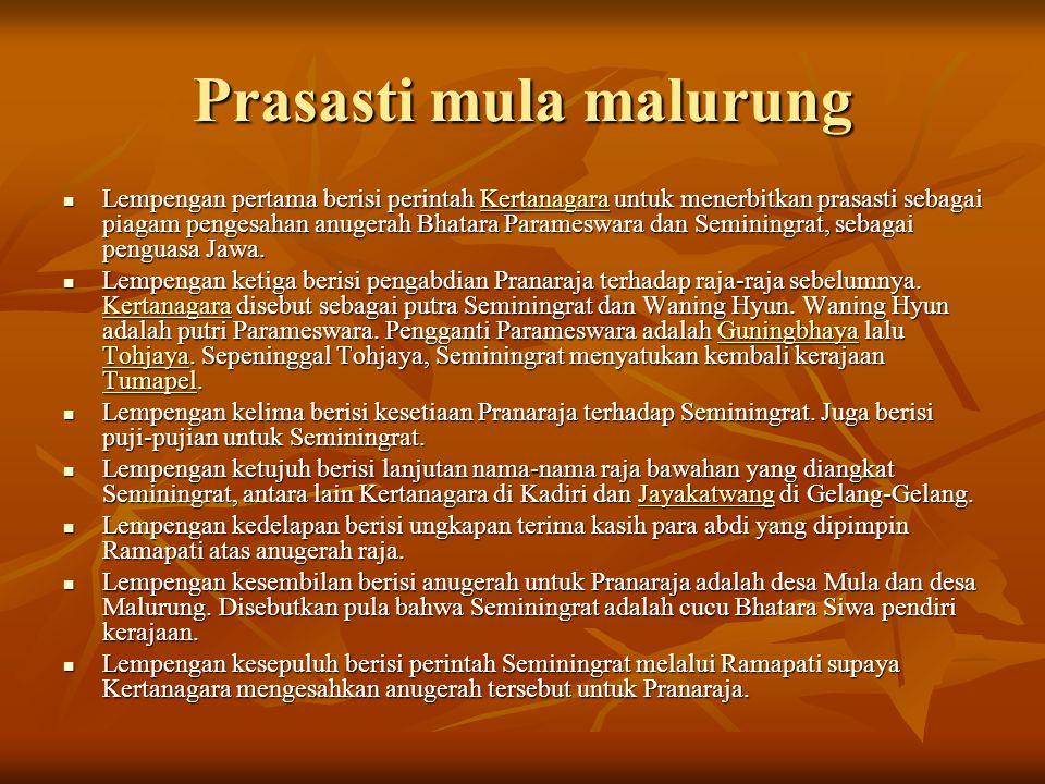 Prasasti mula malurung  Lempengan pertama berisi perintah Kertanagara untuk menerbitkan prasasti sebagai piagam pengesahan anugerah Bhatara Parameswa