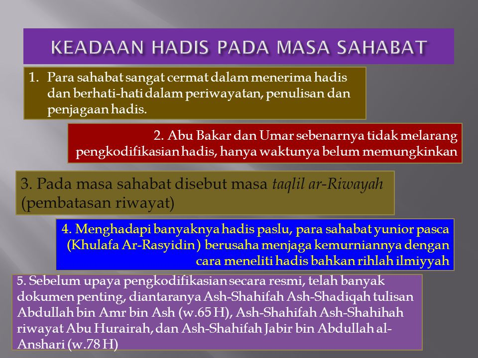 1. Para sahabat sangat cermat dalam menerima hadis dan berhati-hati dalam periwayatan, penulisan dan penjagaan hadis. 2. Abu Bakar dan Umar sebenarnya