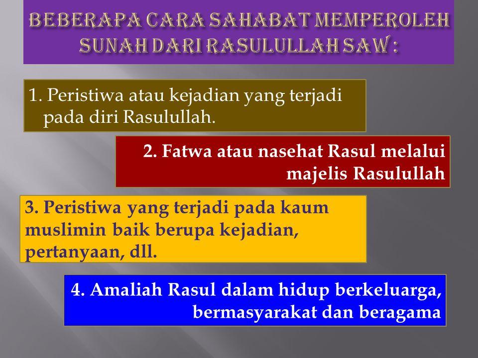 1. Peristiwa atau kejadian yang terjadi pada diri Rasulullah. 2. Fatwa atau nasehat Rasul melalui majelis Rasulullah 3. Peristiwa yang terjadi pada ka