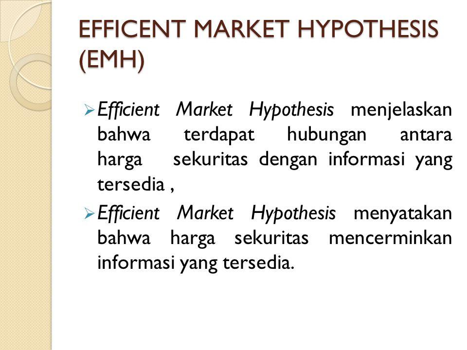 EFFICENT MARKET HYPOTHESIS (EMH)  Efficient Market Hypothesis menjelaskan bahwa terdapat hubungan antara harga sekuritas dengan informasi yang tersed