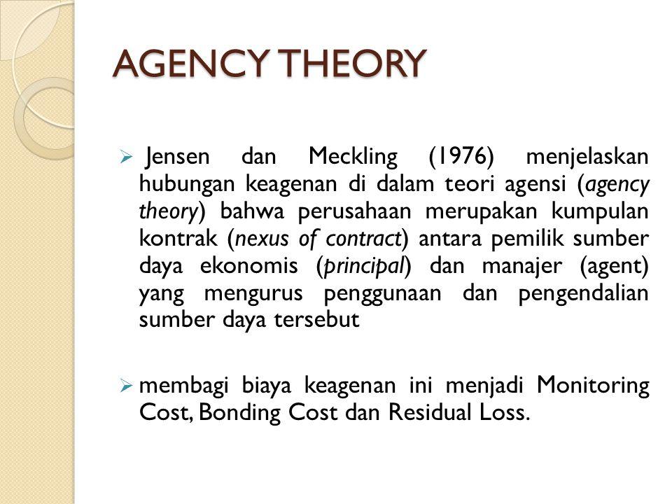 AGENCY THEORY  Jensen dan Meckling (1976) menjelaskan hubungan keagenan di dalam teori agensi (agency theory) bahwa perusahaan merupakan kumpulan kon