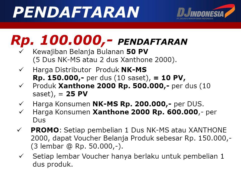 Rp. 100.000,- PENDAFTARAN  Kewajiban Belanja Bulanan 50 PV (5 Dus NK-MS atau 2 dus Xanthone 2000). PENDAFTARAN  Harga Distributor Produk NK-MS Rp. 1