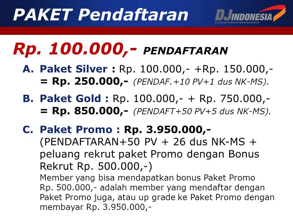 Rp. 100.000,- PENDAFTARAN A.Paket Silver : Rp. 100.000,- +Rp. 150.000,- = Rp. 250.000,- (PENDAF.+10 PV+1 dus NK-MS). PAKET Pendaftaran B.Paket Gold :