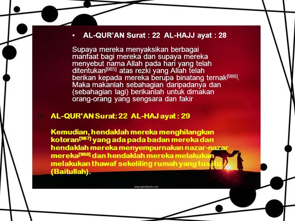 •AL-QUR'AN Surat : 22 AL-HAJJ ayat : 28 Supaya mereka menyaksikan berbagai manfaat bagi mereka dan supaya mereka menyebut nama Allah pada hari yang telah ditentukan [985] atas rezki yang Allah telah berikan kepada mereka berupa binatang ternak [986].