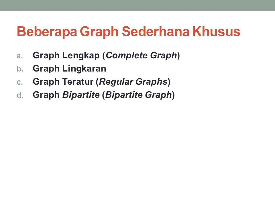 Beberapa Graph Sederhana Khusus a. Graph Lengkap (Complete Graph) b. Graph Lingkaran c. Graph Teratur (Regular Graphs) d. Graph Bipartite (Bipartite G