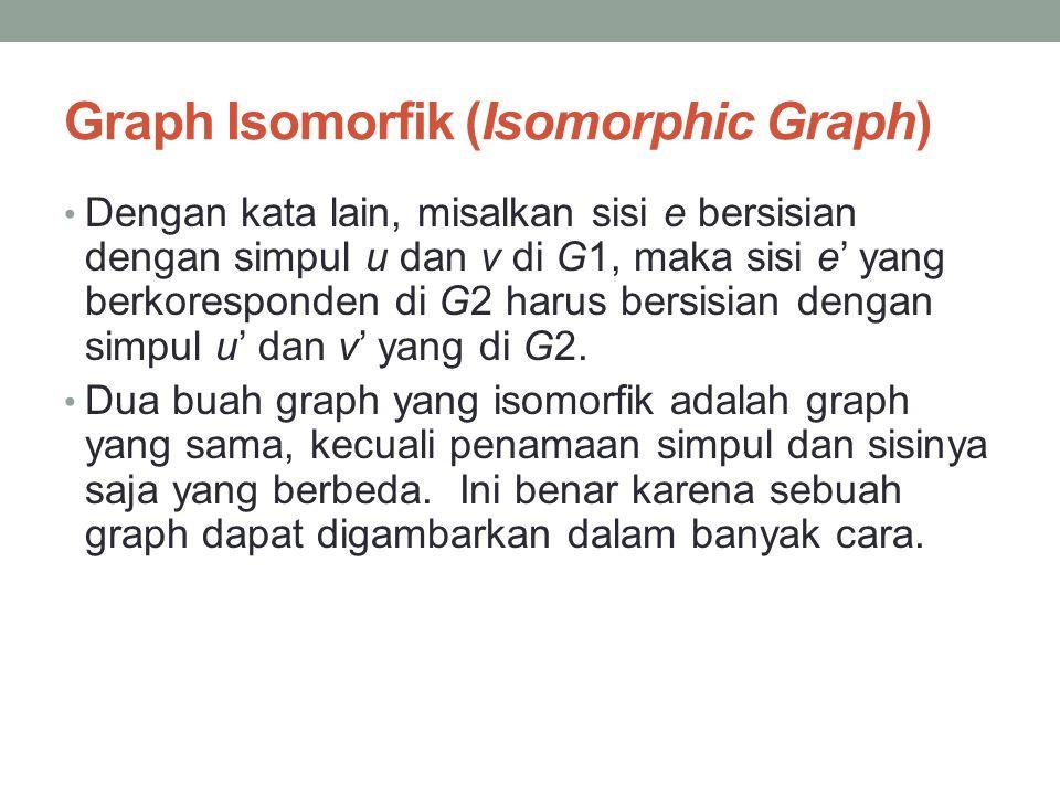 Graph Isomorfik (Isomorphic Graph) • Dengan kata lain, misalkan sisi e bersisian dengan simpul u dan v di G1, maka sisi e' yang berkoresponden di G2 h