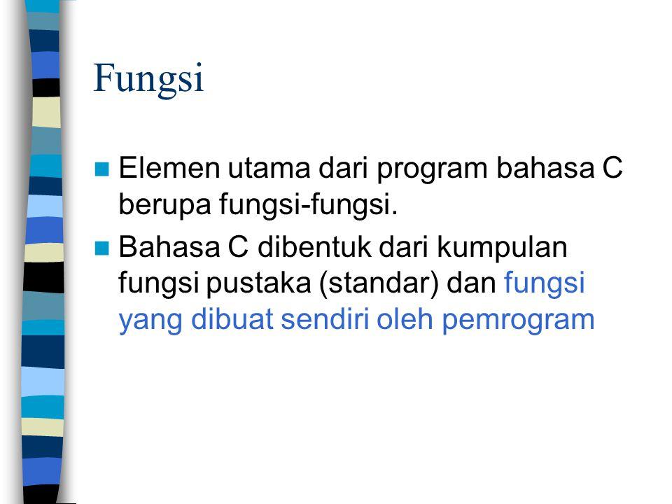 Fungsi  Elemen utama dari program bahasa C berupa fungsi-fungsi.  Bahasa C dibentuk dari kumpulan fungsi pustaka (standar) dan fungsi yang dibuat se