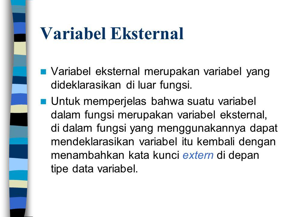 Variabel Eksternal  Variabel eksternal merupakan variabel yang dideklarasikan di luar fungsi.  Untuk memperjelas bahwa suatu variabel dalam fungsi m