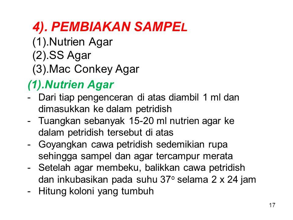 17 4). PEMBIAKAN SAMPE L (1).Nutrien Agar (2).SS Agar (3).Mac Conkey Agar (1).Nutrien Agar -Dari tiap pengenceran di atas diambil 1 ml dan dimasukkan
