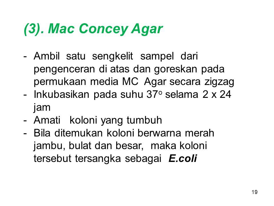 19 (3). Mac Concey Agar -Ambil satu sengkelit sampel dari pengenceran di atas dan goreskan pada permukaan media MC Agar secara zigzag -Inkubasikan pad