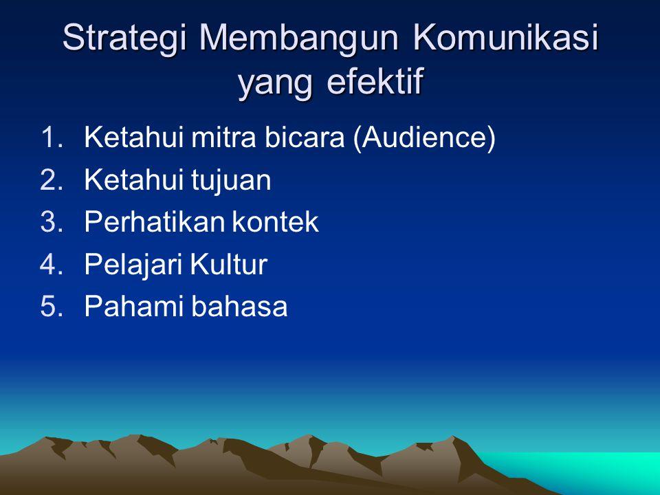Strategi Membangun Komunikasi yang efektif 1.Ketahui mitra bicara (Audience) 2.Ketahui tujuan 3.Perhatikan kontek 4.Pelajari Kultur 5.Pahami bahasa