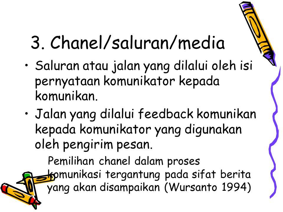 3. Chanel/saluran/media •Saluran atau jalan yang dilalui oleh isi pernyataan komunikator kepada komunikan. •Jalan yang dilalui feedback komunikan kepa