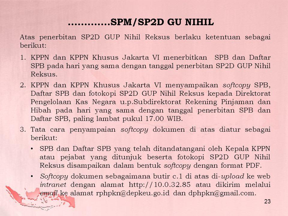 Atas penerbitan SP2D GUP Nihil Reksus berlaku ketentuan sebagai berikut: 1.KPPN dan KPPN Khusus Jakarta VI menerbitkan SPB dan Daftar SPB pada hari yang sama dengan tanggal penerbitan SP2D GUP Nihil Reksus.
