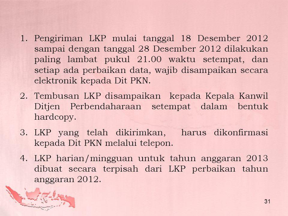 1.Pengiriman LKP mulai tanggal 18 Desember 2012 sampai dengan tanggal 28 Desember 2012 dilakukan paling lambat pukul 21.00 waktu setempat, dan setiap ada perbaikan data, wajib disampaikan secara elektronik kepada Dit PKN.